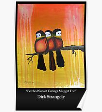 Dirk Strangely's PERCHED SUNSET COTINGA MUGGET TRIO Poster