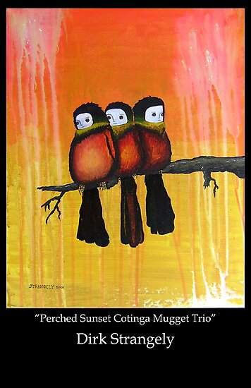 Dirk Strangely's PERCHED SUNSET COTINGA MUGGET TRIO by Dirk Strangely