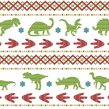 Christmas Dinosaurs Knit Embroidered Fair Isle by emkayhess