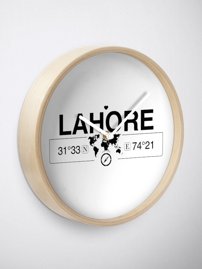 Alternate view of Lahore Punjab with World Map Coordinates GPS and Compass   Clock