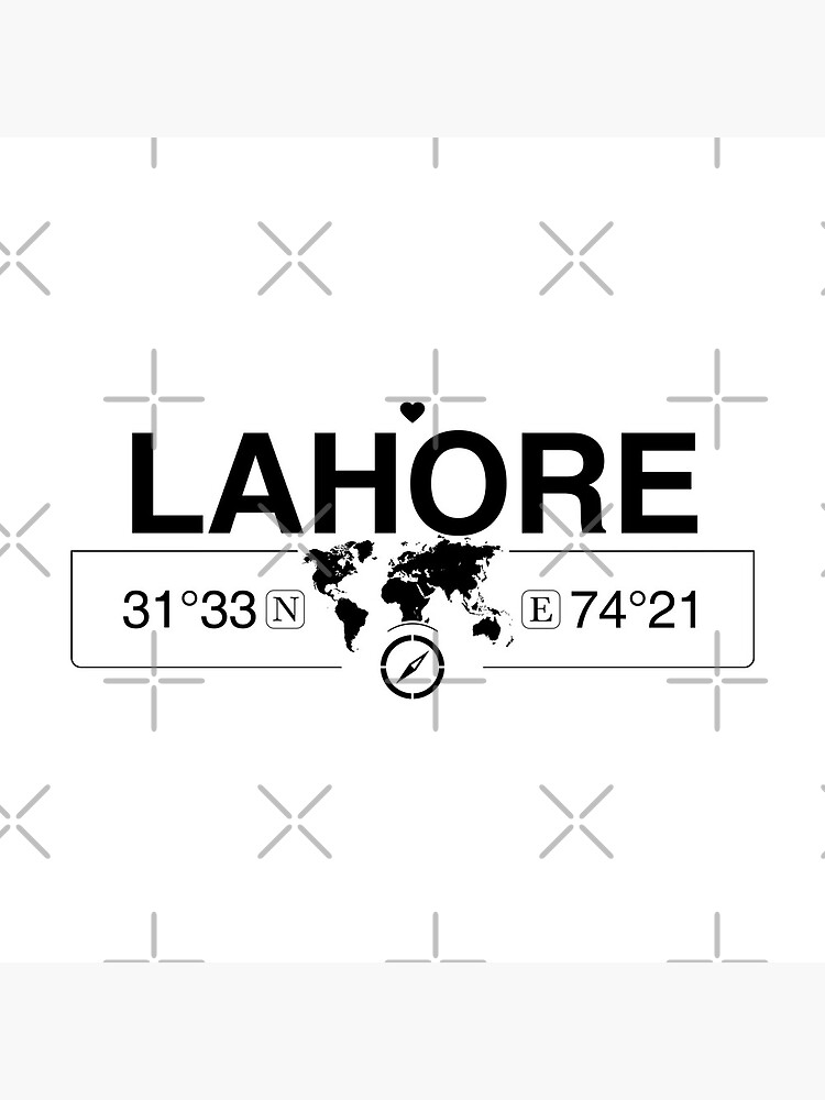 Lahore Punjab with World Map Coordinates GPS and Compass   by Map-Your-World