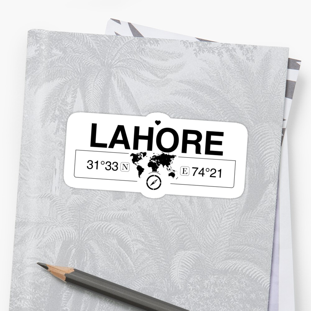 Lahore World Map.Lahore Punjab With World Map Coordinates Gps And Compass Stickers
