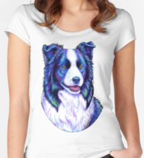 Colorful Border Collie Dog Women's Fitted Scoop T-Shirt