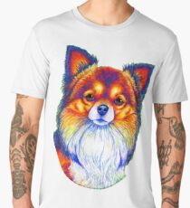 Colorful Long Haired Chihuahua Dog Men's Premium T-Shirt