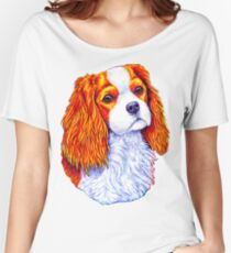 Colorful Cavalier King Charles Spaniel Dog Women's Relaxed Fit T-Shirt