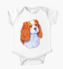 Colorful Cavalier King Charles Spaniel Dog One Piece - Short Sleeve