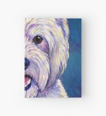 Colorful West Highland White Terrier Dog Blue Background Hardcover Journal