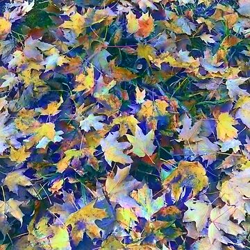 Late Fall Leaves in Blue by bloomingvine