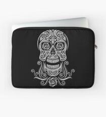 Day Of The Dead Skull - 02 Black White Grunge Laptop Sleeve