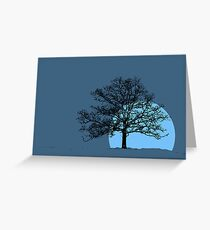 Blackjack silhoutte on blue Greeting Card