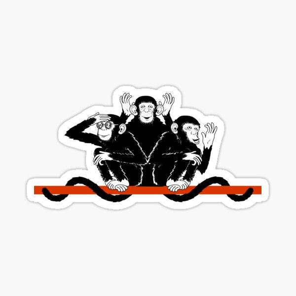 Monkeys Three - hear, speak and see Sticker