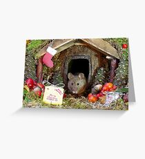 christmas mice at winter log cabin very festive  Greeting Card