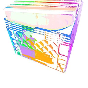 Crate of Vinyl LP Records (Pop-Art-Farben) von robotface