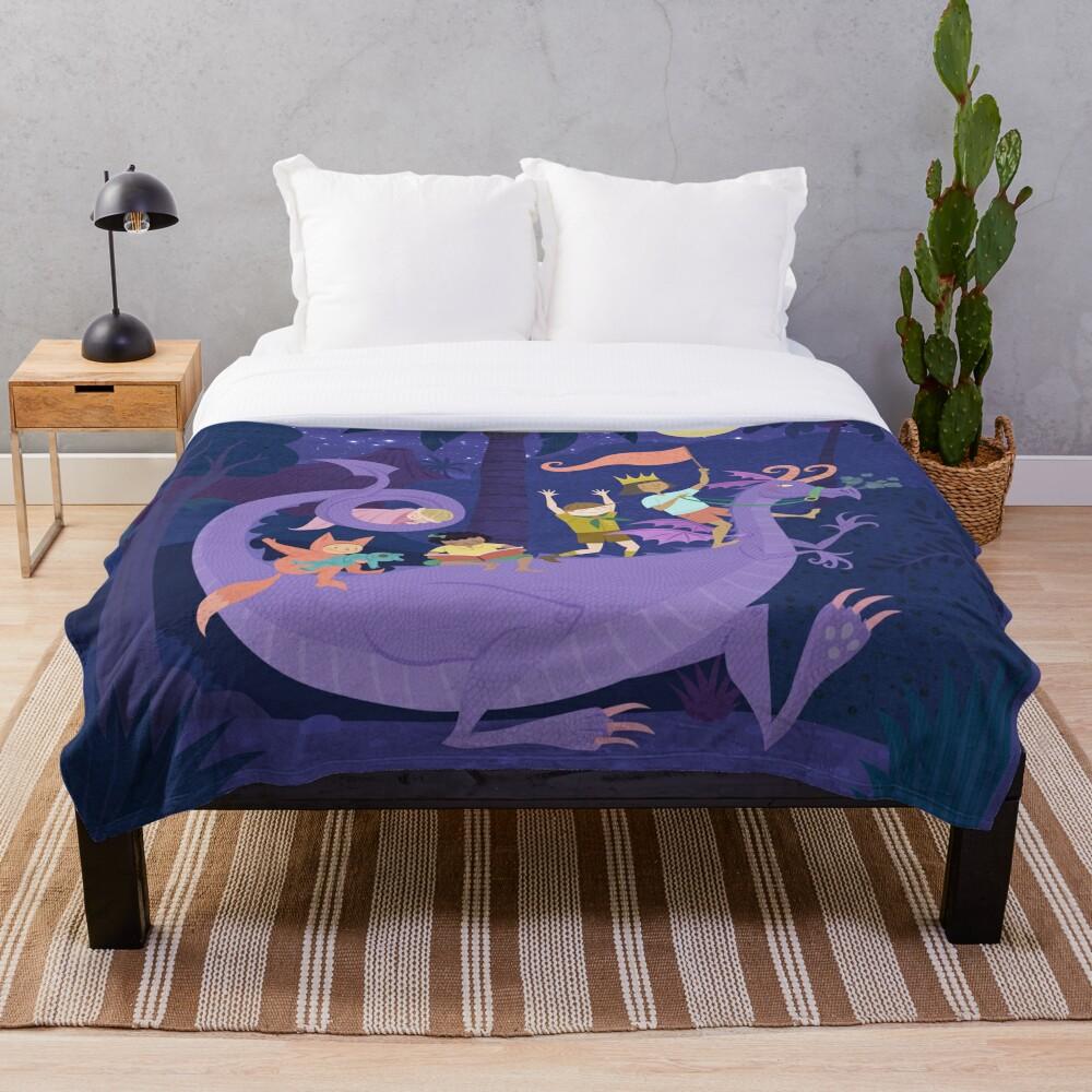 Nighttime Dragon Ride Throw Blanket