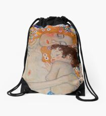 Gustav Klimt, mother and child,reproduction,art nouveau,great art from vintage painters Drawstring Bag