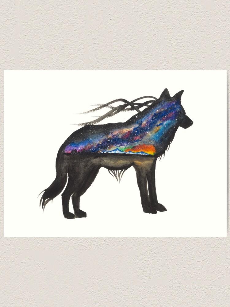Alternate view of Alaskan Sunset Wolf Art Print