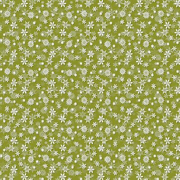 Festive Pepper Stem Green and White Christmas Holiday Snowflakes by podartist