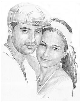 Young couple pencil drawing by Mike Theuer