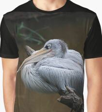 Having A Snooze - Pink Backed Pelican Perching On A Branch Graphic T-Shirt