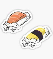 Pooshi (caniche+sushi) saumon & omelette set Sticker