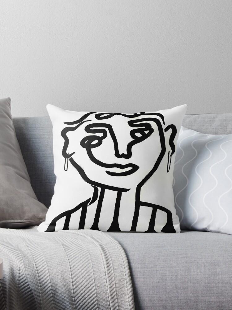 peinture en noir et blanc coussins par noodlehead art. Black Bedroom Furniture Sets. Home Design Ideas