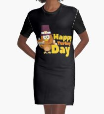 Funny Turkey Face Happy Thanksgiving Day Tee Graphic T-Shirt Dress