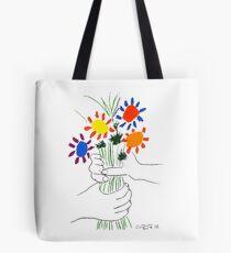 Bolsa de tela Pablo Picasso Bouquet Of Peace 1958 (Bouquet de flores con manos), camiseta, ilustraciones