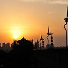 Xi'an City At Sunset Taken From The Wall, China. by Ralph de Zilva
