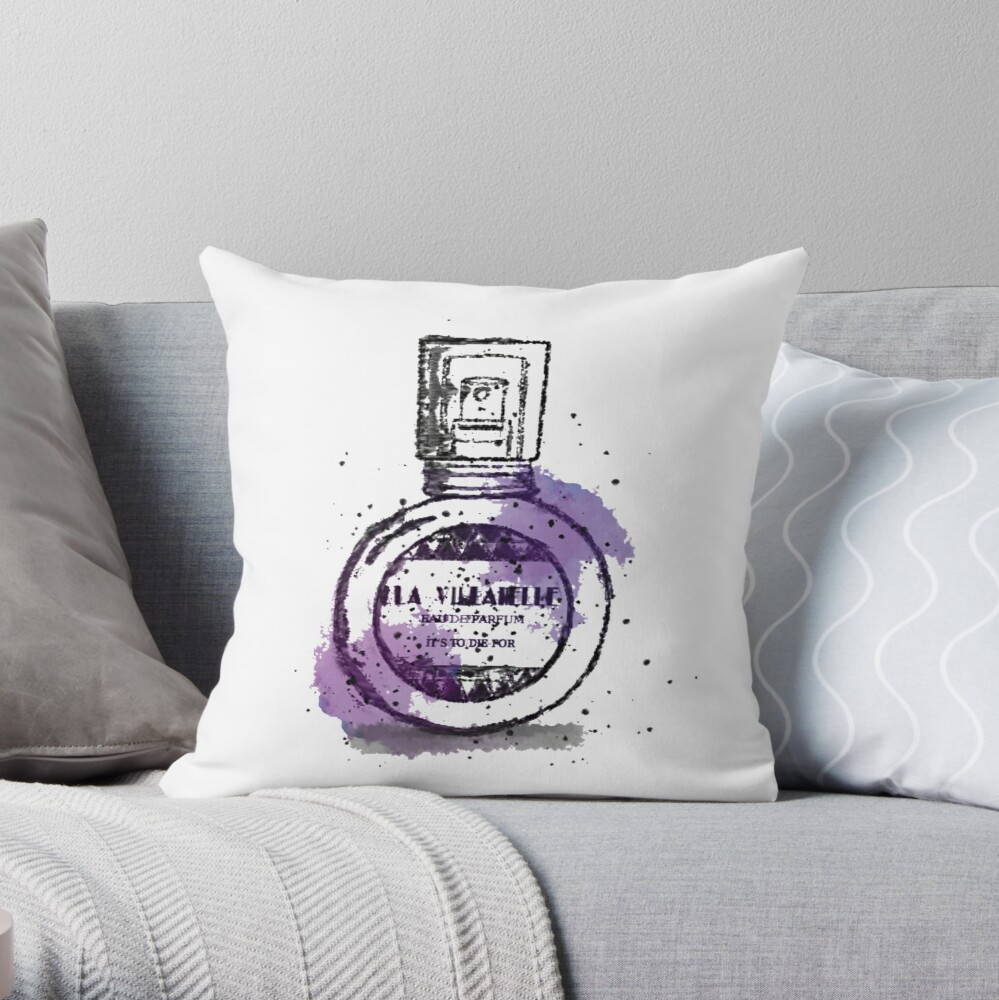 La Villanelle Perfume Watercolour Print Throw Pillow