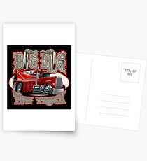 Cartoon big rig tow truck with vintage lettering poster Postcards