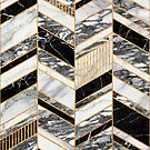 Abstract Chevron Pattern - Black and White Marble by Zoltan Ratko