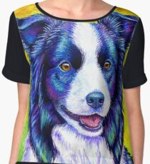 Colorful Border Collie Dog Chiffon Top
