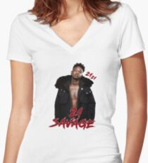 21 SAVAGE - 21 21 Women's Fitted V-Neck T-Shirt