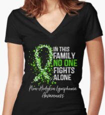 In This Family No One Fights Alone - NonHodgkin Lymphoma Women's Fitted V-Neck T-Shirt