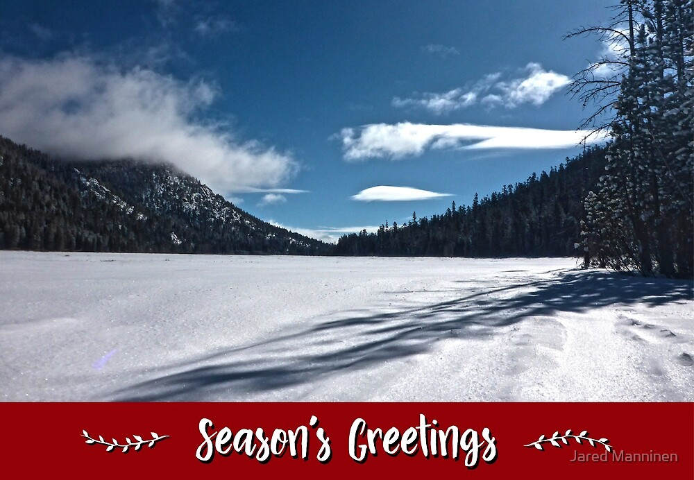 Snowy Lake Holiday Card by Jared Manninen