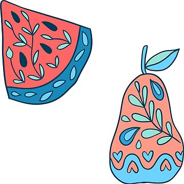 Watermrlon and pear stickers by kostolom3000