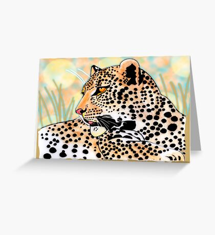 Round spotted leopard (all styles animals series) Greeting Card