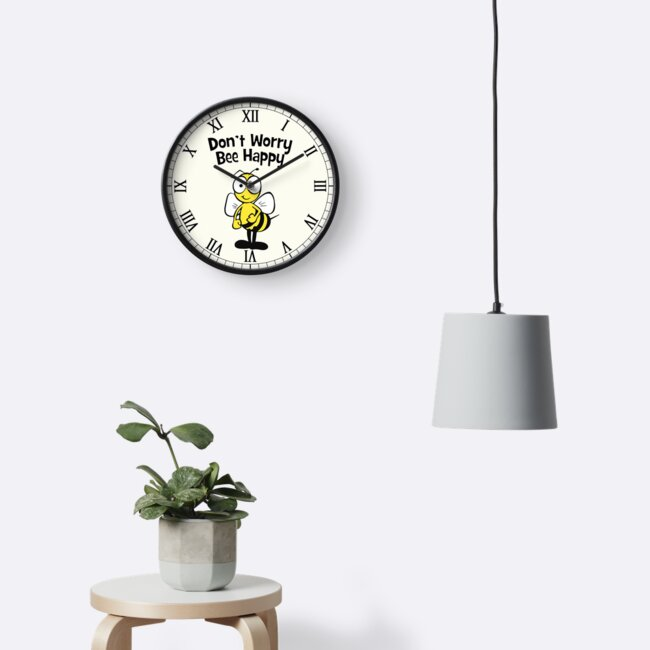 Don't Worry Bee Happy Cute Bumble Bee by ironydesigns