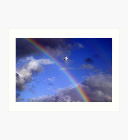 Ascending Bird with Rainbow  Art Print