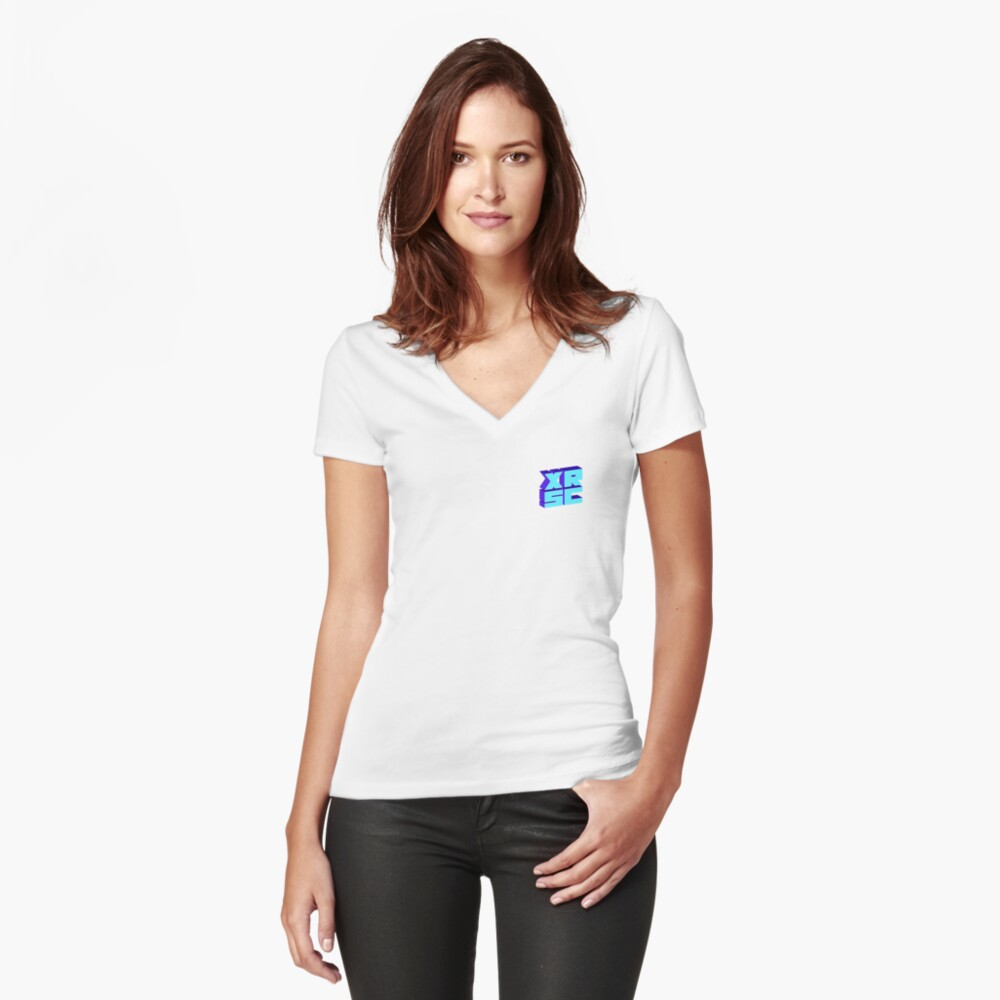 XRSC - Blue Women's Fitted V-Neck T-Shirt Front