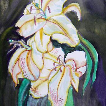 White Lilies watercolor by Naquaiya