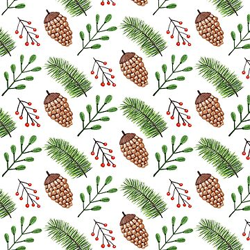 Brown pinecones and winter greens pattern by artonwear