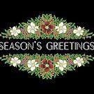 Christmas Roses Season's Greetings on Black by Judy Adamson