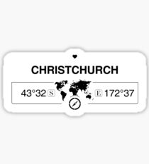 Christchurch Canterbury with World Map Coordinates GPS and Compass Sticker