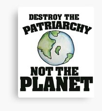 Destroy the Patriarchy not the planet Canvas Print