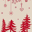 Elch im Wald mit Weihnachtsschmuck von Christine Krahl