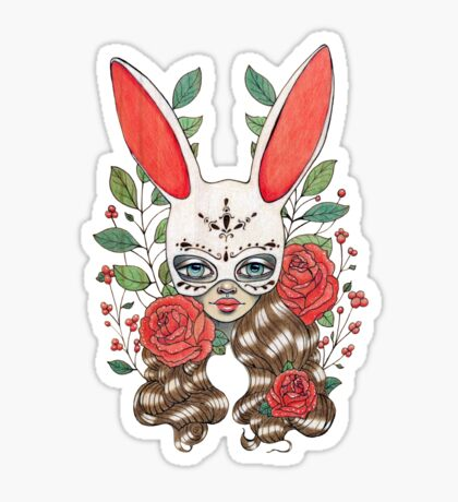 In my garden of rabbits and roses Sticker