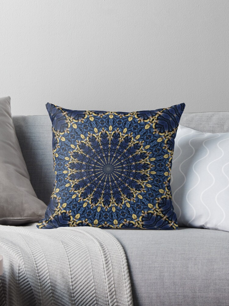 Navy Blue And Gold Throw Pillows By Ikshvaku Redbubble