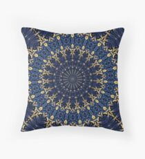 Navy blue and gold Throw Pillow