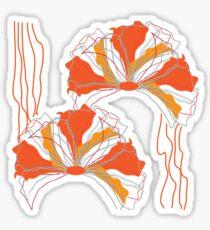 Orange Red Abstract Flower Sticker